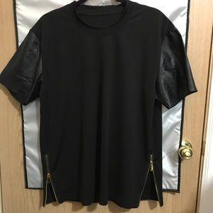Leather arm street wear shirt